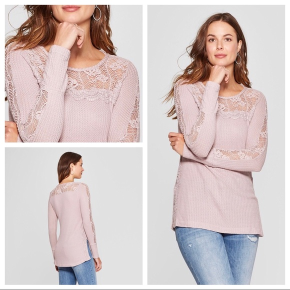 9a99c0a4d7450a 🤩NWT Knox Rose🌹Lilac Lace Trim Waffle Knit Top